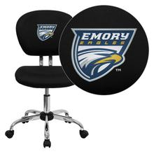 Emory University Eagles Embroidered Black Mesh Task Chair with Chrome Base