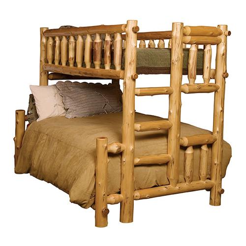 Traditional Bunk Bed - Queen/Double - Natural Cedar - Ladder Left