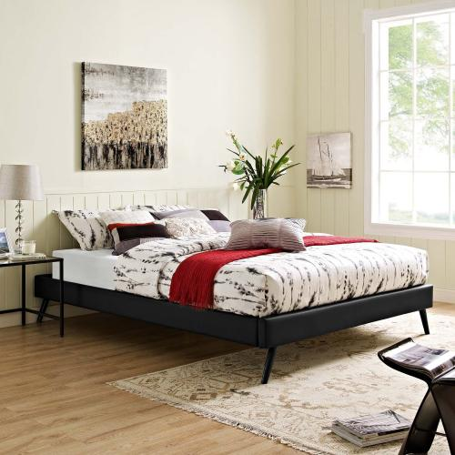 Loryn Queen Vinyl Bed Frame with Round Splayed Legs in Black