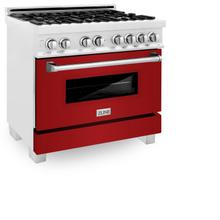 """View Product - ZLINE 36"""" Professional Dual Fuel Range in DuraSnow® Stainless Steel with Color Door Options (RAS-SN-36) [Color: Red Gloss]"""