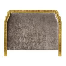 US King Gilded & glomise Headboard, Upholstered in Truffle Velvet
