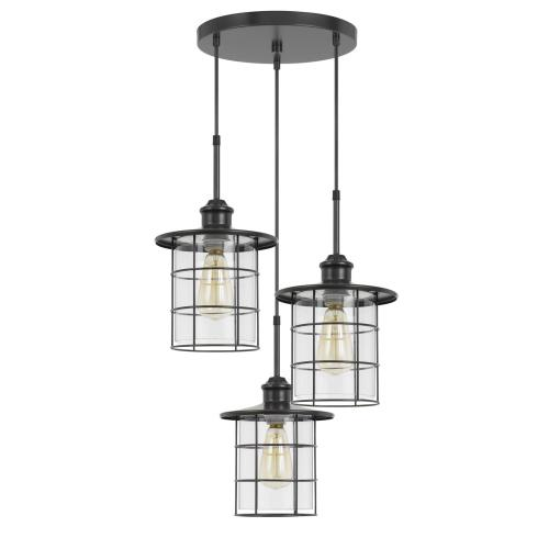 60W x 3 Silverton metal/glass pendant fixture (Edison bulbs NOT included)