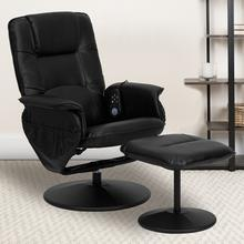 Massaging Adjustable Recliner with Deep Side Pockets and Ottoman with Wrapped Base in Black LeatherSoft