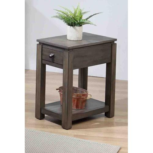 Narrow End Table w/Drawer and Shelf - Shades of Gray