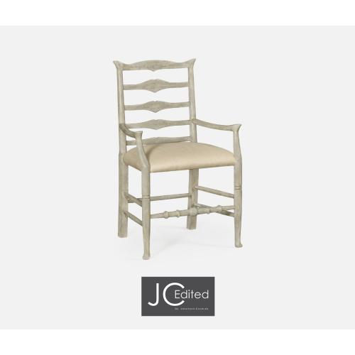 Rustic Grey Ladder Back Arm Chair, Upholstered in MAZO