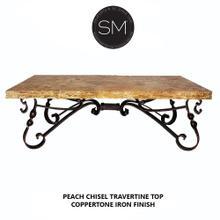 Chic Western Coffee Table Peach Travertine Top Scroll Legs - Peach Chisel Travertine / Dark Rust Brown