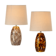 Amber & Neutral Art Glass Accent Lamp. (Each One Will Vary) 40W Max. (4 pc. ppk.)