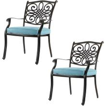 Hanover Set of 2 Traditions Standard Dining Chairs with Blue Cushions, AAF06000F02-2
