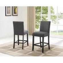 See Details - Biony Gray Fabric Counter Height Stools with Nailhead Trim, Set of 2