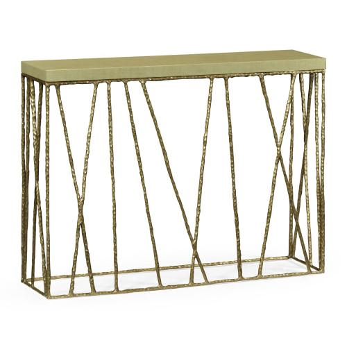 Hammered Light Brown Brass Console with Celadon Top