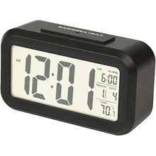 Portable Alarm Clock with Auto Night Light Sensor, Temperature & Calendar