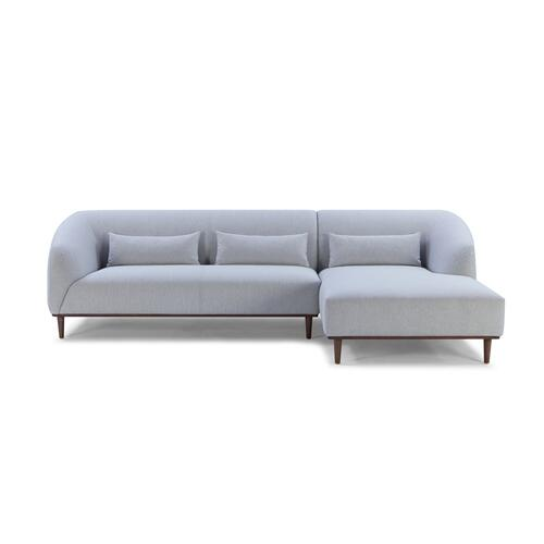 Divani Casa Venus Mid Century Modern Grey Fabric Sectional w/ Right Facing Chaise