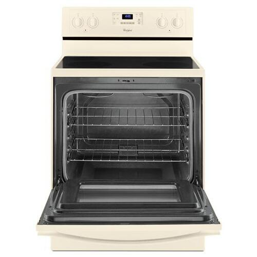 Gallery - Whirlpool® 5.3 Cu. Ft. Freestanding Electric Range with Easy Wipe Ceramic Glass Cooktop - Biscuit-on-Biscuit