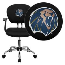 Arkansas Fort Smith Lions Embroidered Black Mesh Task Chair with Arms and Chrome Base