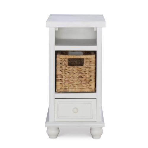 2 Open Cubbies and 1 Small Drawer End Table, White