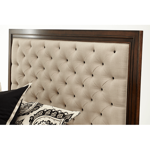 Eastern King Panel Bed w/Fabric Tufted Headboard