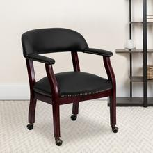 View Product - Black LeatherSoft Conference Chair with Accent Nail Trim and Casters