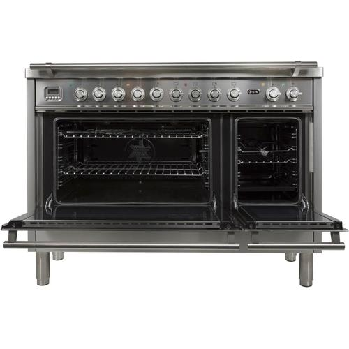 Ilve - Professional Plus 48 Inch Dual Fuel Liquid Propane Freestanding Range in Stainless Steel with Chrome Trim