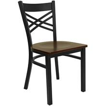 Black ''X'' Back Metal Restaurant Chair with Mahogany Wood Seat