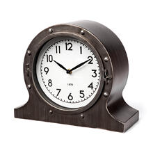 See Details - Camden Gray Distressed Metal Porthole Table Clock