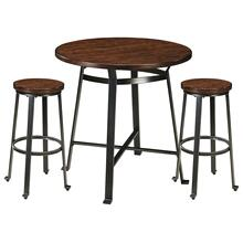 Challiman Bar Height Table & 2 Bar stools Rustic Brown