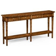 Country living style walnut four drawer console