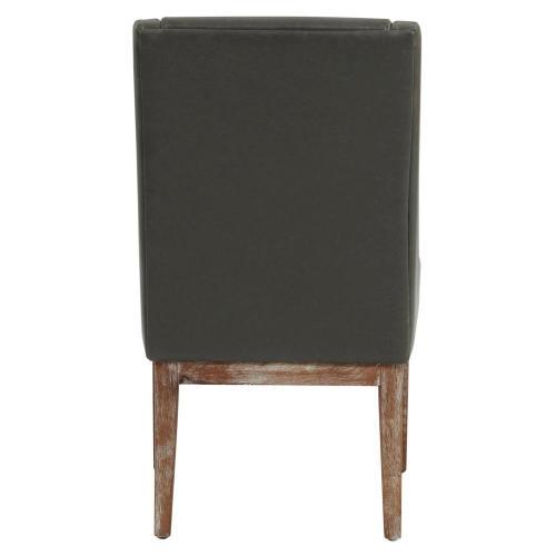 Houston Bonded Leather Chair Drift Wood Legs, Vintage Gray