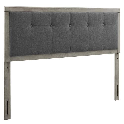 Draper Tufted King Fabric and Wood Headboard in Gray Charcoal