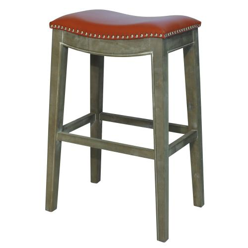 Elmo Bonded Leather Bar Stool Mystique Gray Frame, Pumpkin