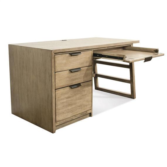 Riverside - Perspectives - Single Pedestal Desk - Sun-drenched Acacia Finish
