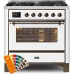 IlveIlve 36 Inch Custom RAL Color Dual Fuel Natural Gas Freestanding Range