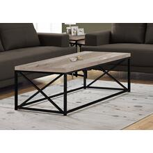 COFFEE TABLE - TAUPE RECLAIMED WOOD-LOOK / BLACK METAL