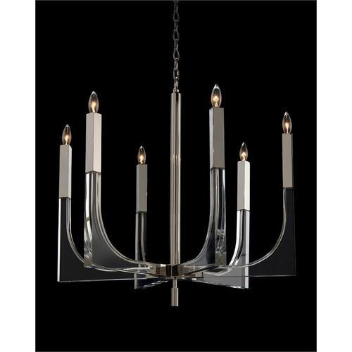 Acrylic and Nickel Six-Light Chandelier