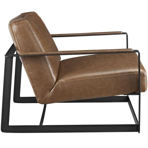 Seg Vegan Leather Accent Chair in Brown