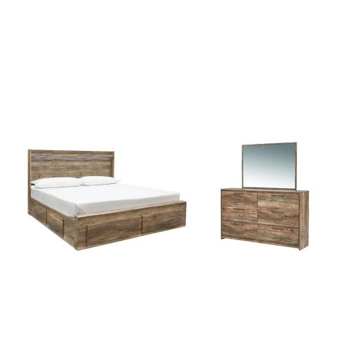 King Panel Bed With 6 Storage Drawers With Mirrored Dresser