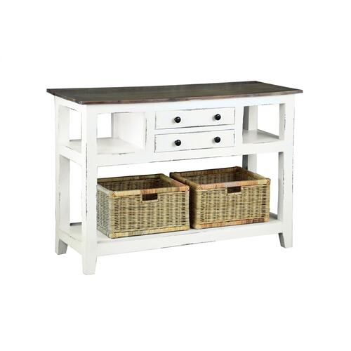 CC-TAB2227TLD-WWSV-B  Sideboard  Island with Basket  Distressed White and Brown