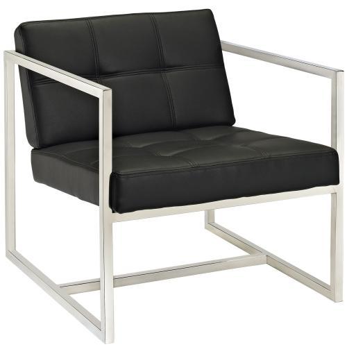 Hover Upholstered Vinyl Lounge Chair in Black