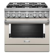 KitchenAid® 36'' Smart Commercial-Style Dual Fuel Range with 6 Burners - Matte Milkshake