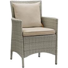 Conduit Outdoor Patio Wicker Rattan Dining Armchair in Light Gray Beige