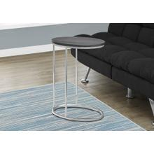ACCENT TABLE - OVAL / GREY WITH CHROME METAL