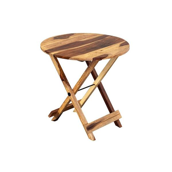 See Details - Sheesham Accents Round Folding Table, ART-271