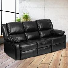 Harmony Series Black LeatherSoft Sofa with Two Built-In Recliners