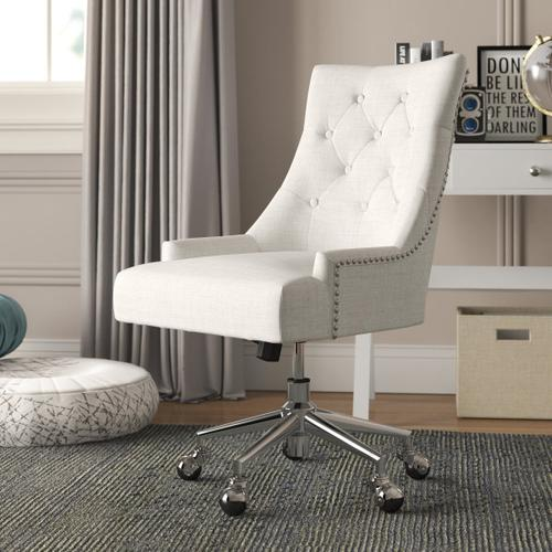 Accentrics Home - Button Tufted Adjustable Upholstered Office Chair in Beige