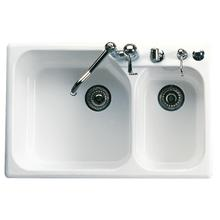 White Allia Fireclay 2 Bowl Drop-In Kitchen Sink