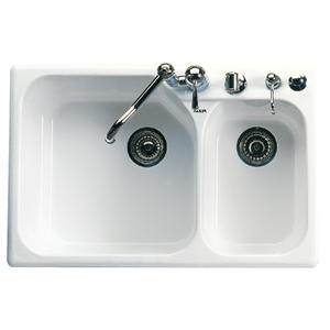 White Allia Fireclay 2 Bowl Drop-In Kitchen Sink Product Image