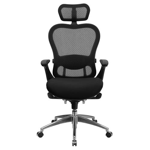 Galaxy High Back Executive Black Mesh Chair with Padded Mesh Seat and Chrome Base