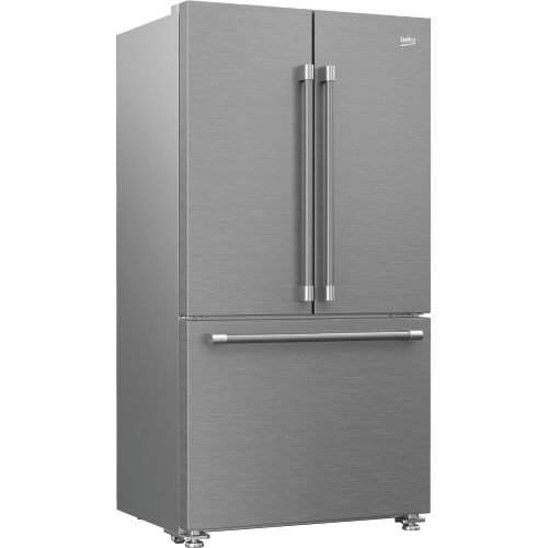 """Beko - 36"""" French Three-Door Stainless Steel Refrigerator with auto Ice Maker, Water Dispenser"""