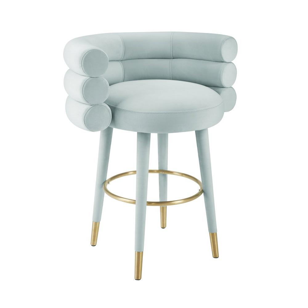 Betty Sea Foam Blue Velvet Counter Stool
