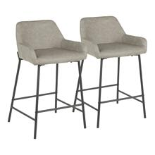 Daniella Counter Stool - Set Of 2 - Black Metal, Grey Pu