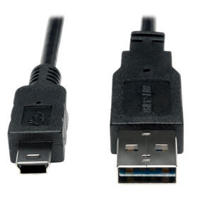 Universal Reversible USB 2.0 Cable (Reversible A to 5Pin Mini B M/M), 6-ft.